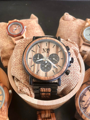 Chronograph Date Zebra Wood and Metal Watch