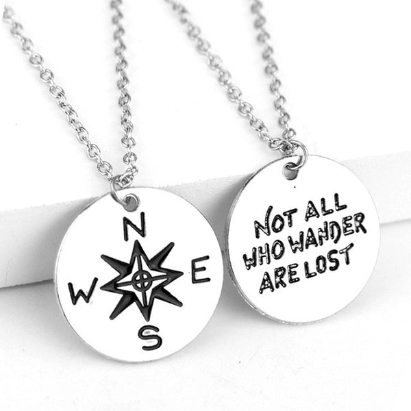 Not All Who Wander Are Lost / Compass Necklace