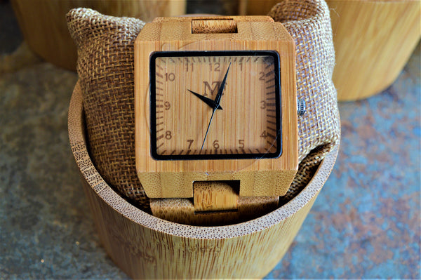 Men's Large Bamboo Wood Watch