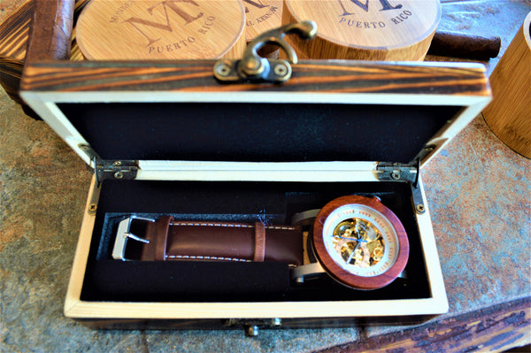 Men's Skeleton Rosewood and Leather Automatic Movement Watch
