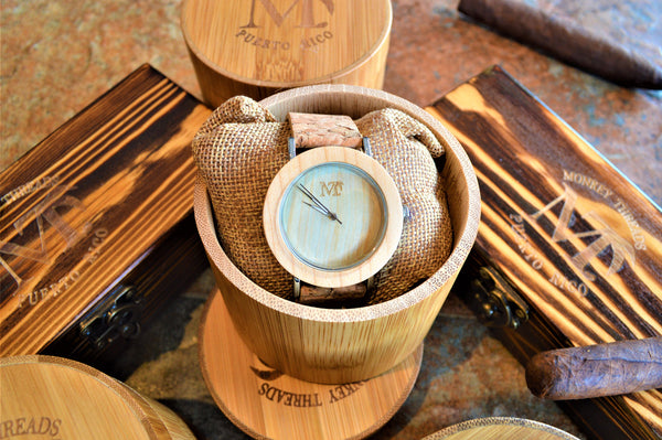 Women's Bamboo Wood and Leather Cork Band Watch