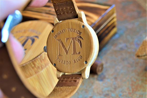 Women's Bamboo Wood and Leather Watch