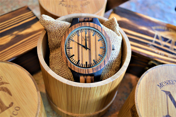 Men's Two-Tone Zebra Wood and Ebony Watch - Light Dial