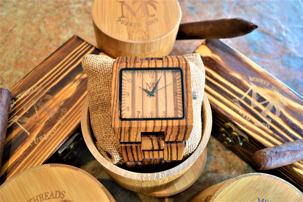 Men's Large Zebra Wood Watch