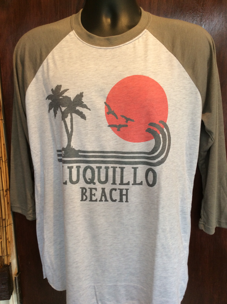 Mens/Womens  Luquillo Beach Red Sun Raglan