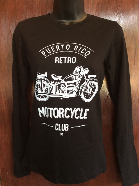 Womens Retro Motorcycle Club Long Sleeve
