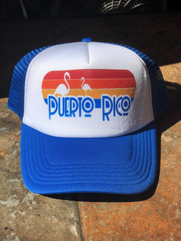 Retro Puerto Rico Flamingo Cap - Blue