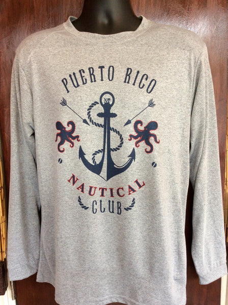 Mens Puerto Rico Nautical Club Long Sleeve Micro-fiber