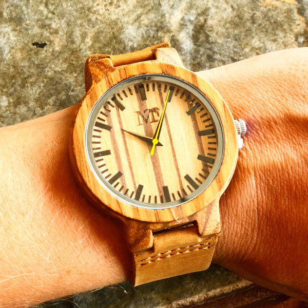 Wood and Leather Watch - Wood Grain Dial