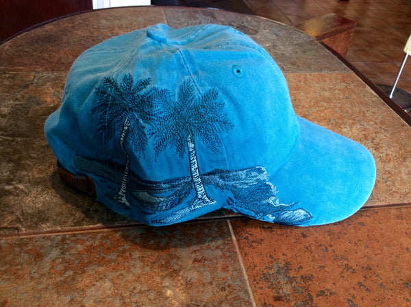 Palm Trees Embroidered Cap Blue