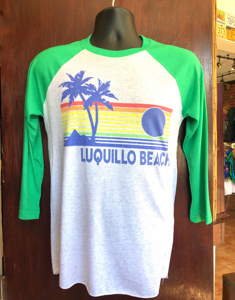 Green Luquillo Beach Rainbow Raglan