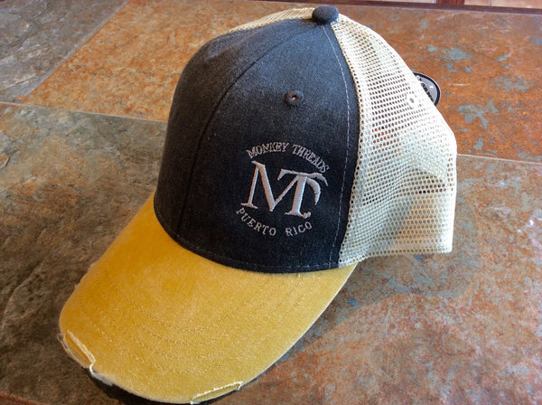 Distressed Cap Black/Mustard