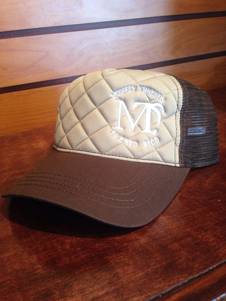 Quilted Cap - Brown w/White