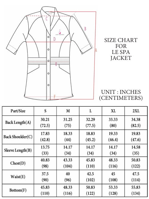 spa jacket size chart