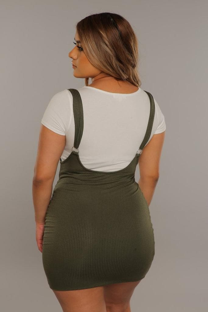 Suspender Dress in Olive