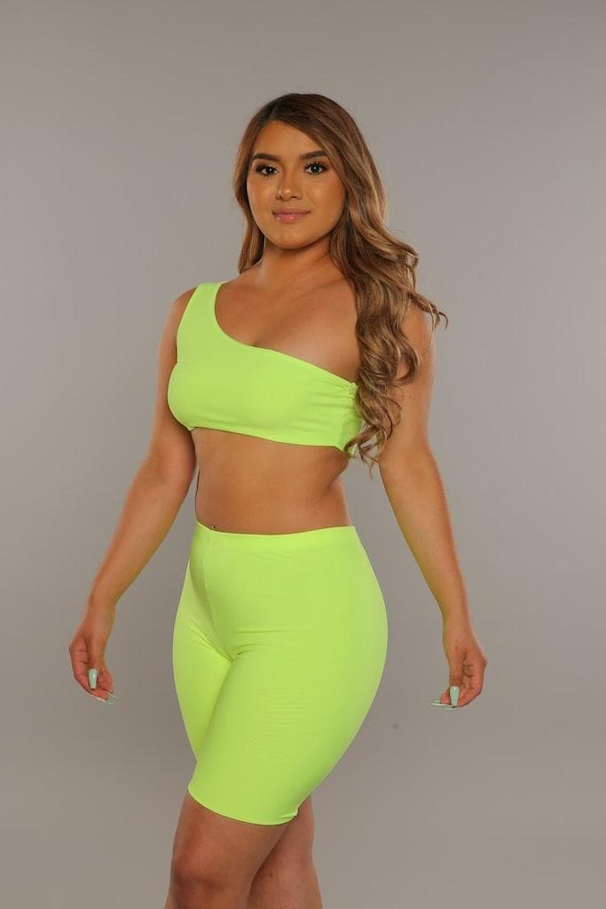 Biker Short Set (Neon Yellow)