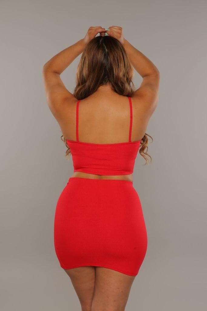 The Slit Skirt Set (Red)