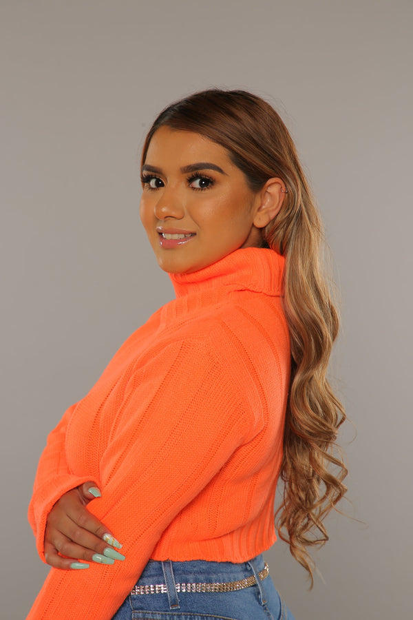 Neon Turtle Neck Sweater (Orange)