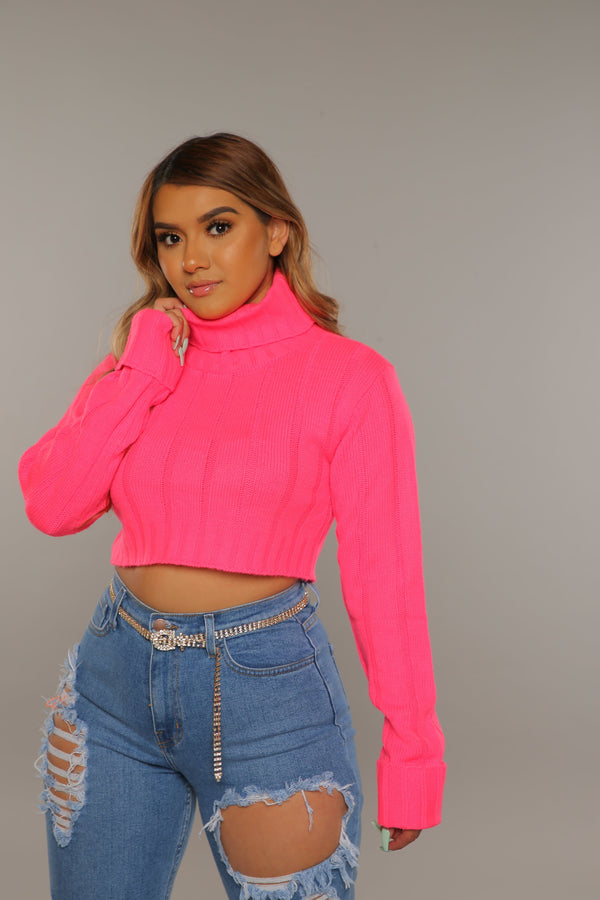 Neon Turtle Neck Sweater (Pink)