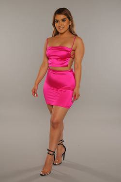 Silk Skirt Set (Fuchsia)