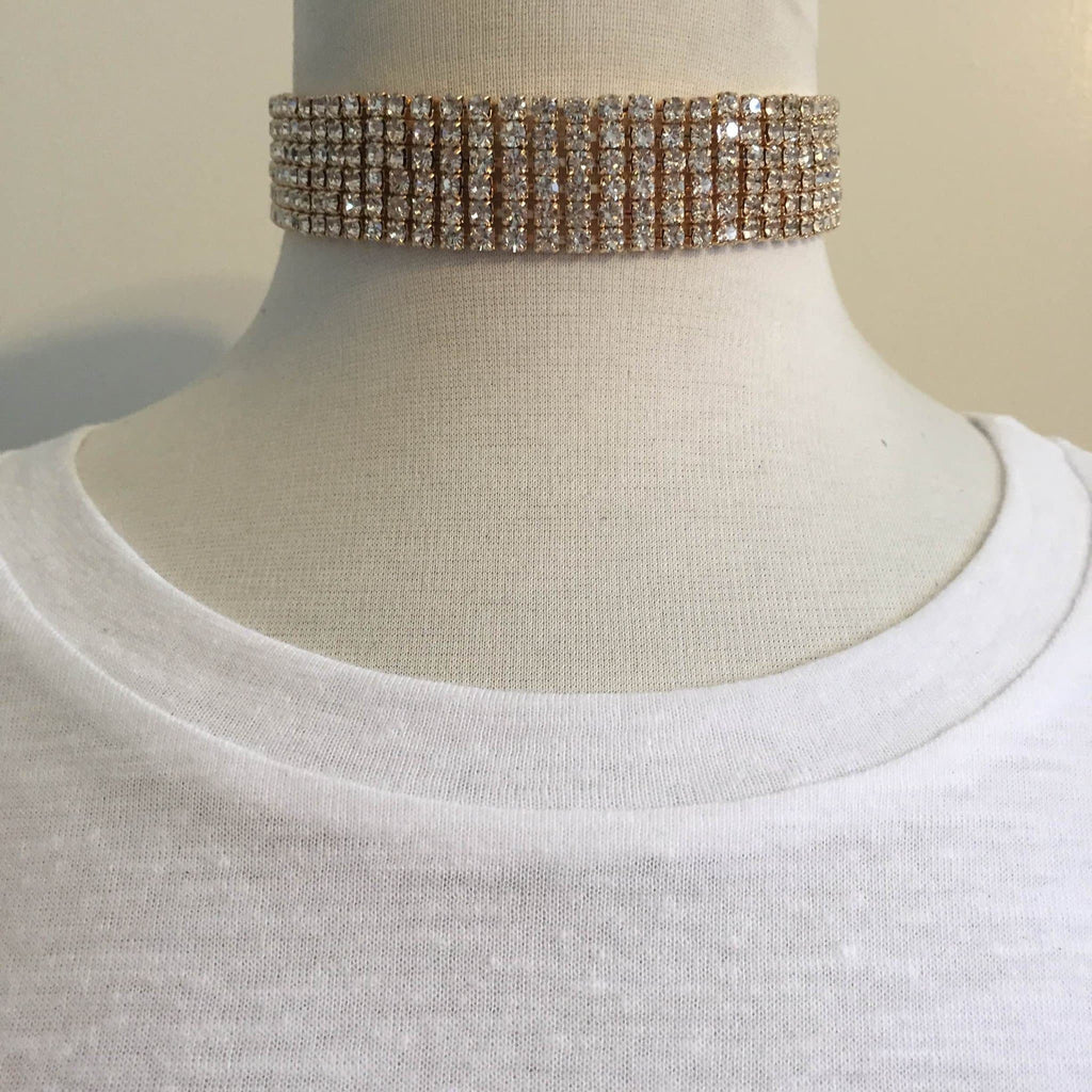 Heiress Rhinestone Choker (Gold)