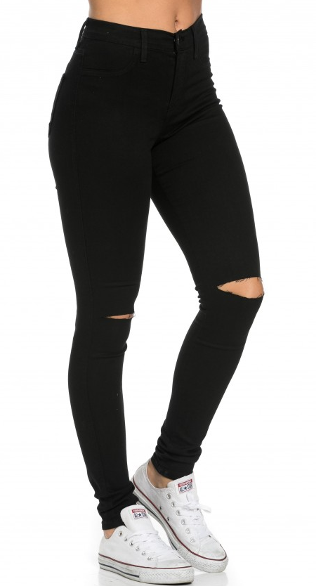 High Waisted Knee Slit Jeans in Black