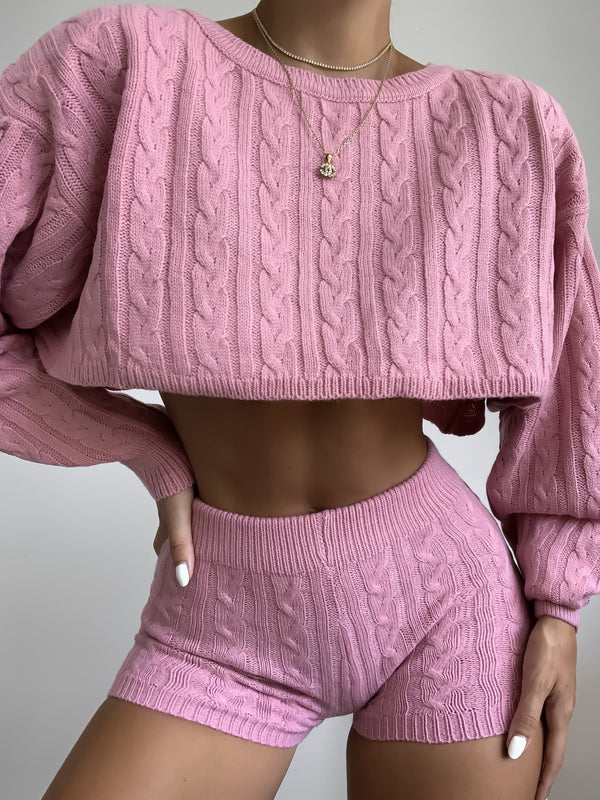 Knit Shorts Set (Pink)