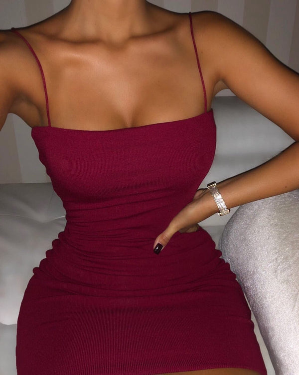 Lily Double Layered Tank Dress (Burgundy)