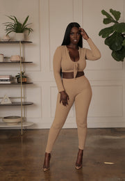 Taupe Ribbed Set