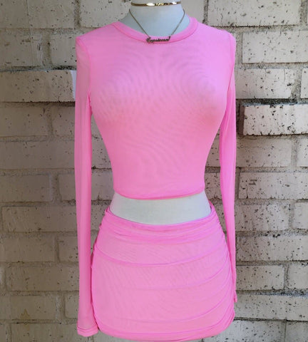 Baddie Skirt Set- Candy Pink