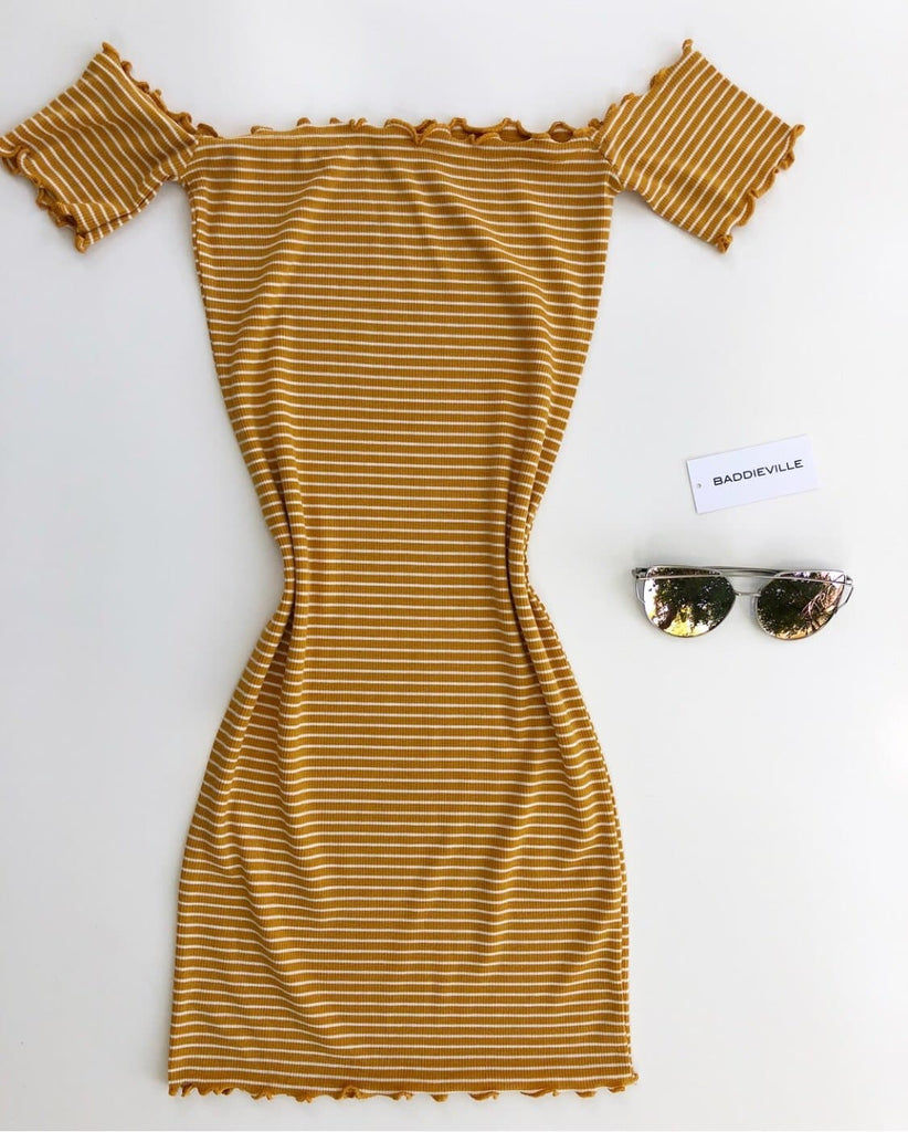 Lily Ribbed Dress- Mustard/ Soft White
