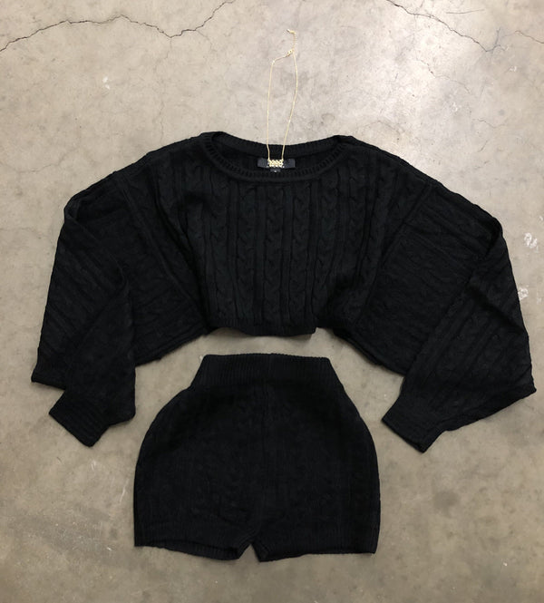 Knit Shorts Set (Black)