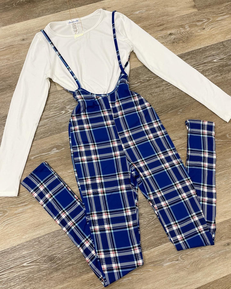 Royal Plaid Jumpsuit
