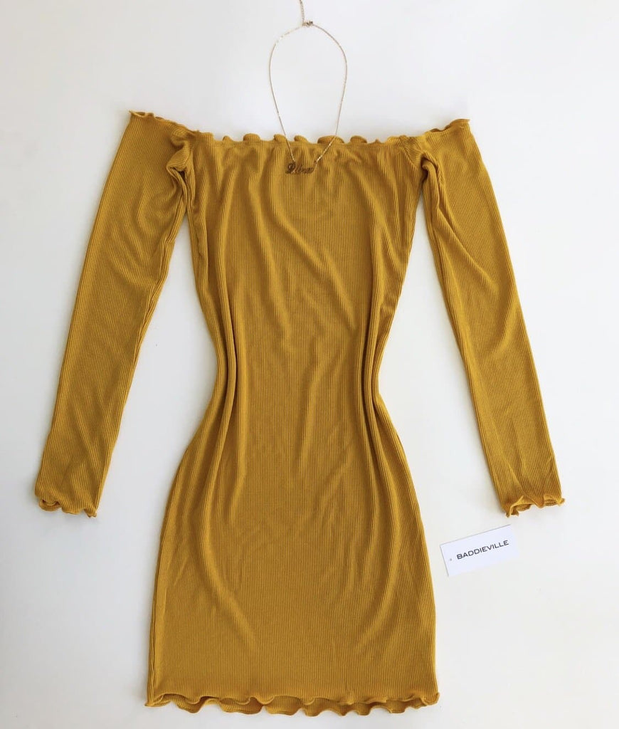 Camila Off Shoulder Long Sleeve- Mustard