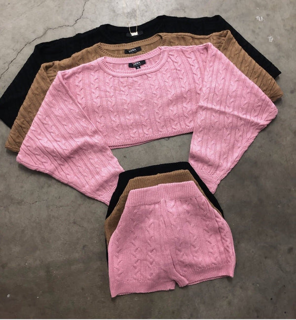 Knit Shorts Set (Mocha)
