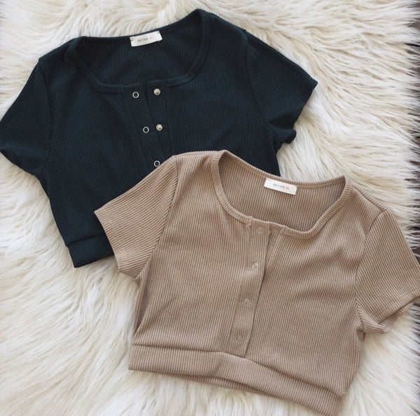 Riley Button Crop Top