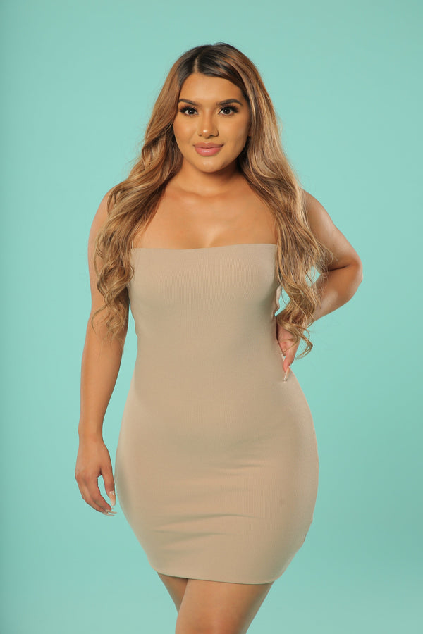 Lily Double Layered Tank Dress (Taupe)