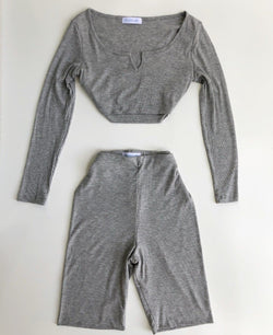 Ribbed Biker Set (Heather Gray)