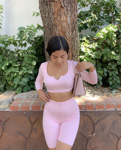 Ribbed Biker Set (powder pink)