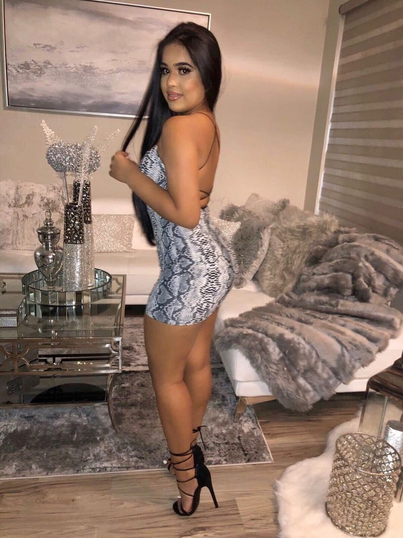The Lace Up Dress (Snake Print)