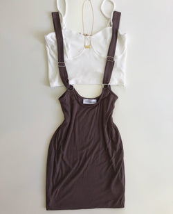 Suspender Dress In Brown
