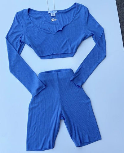 Ribbed Biker Set (blue)