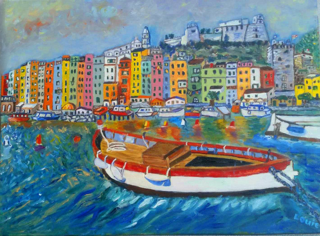 "Portvenue, Liguria, Italy, 24"" x 18""--1 inch wide"