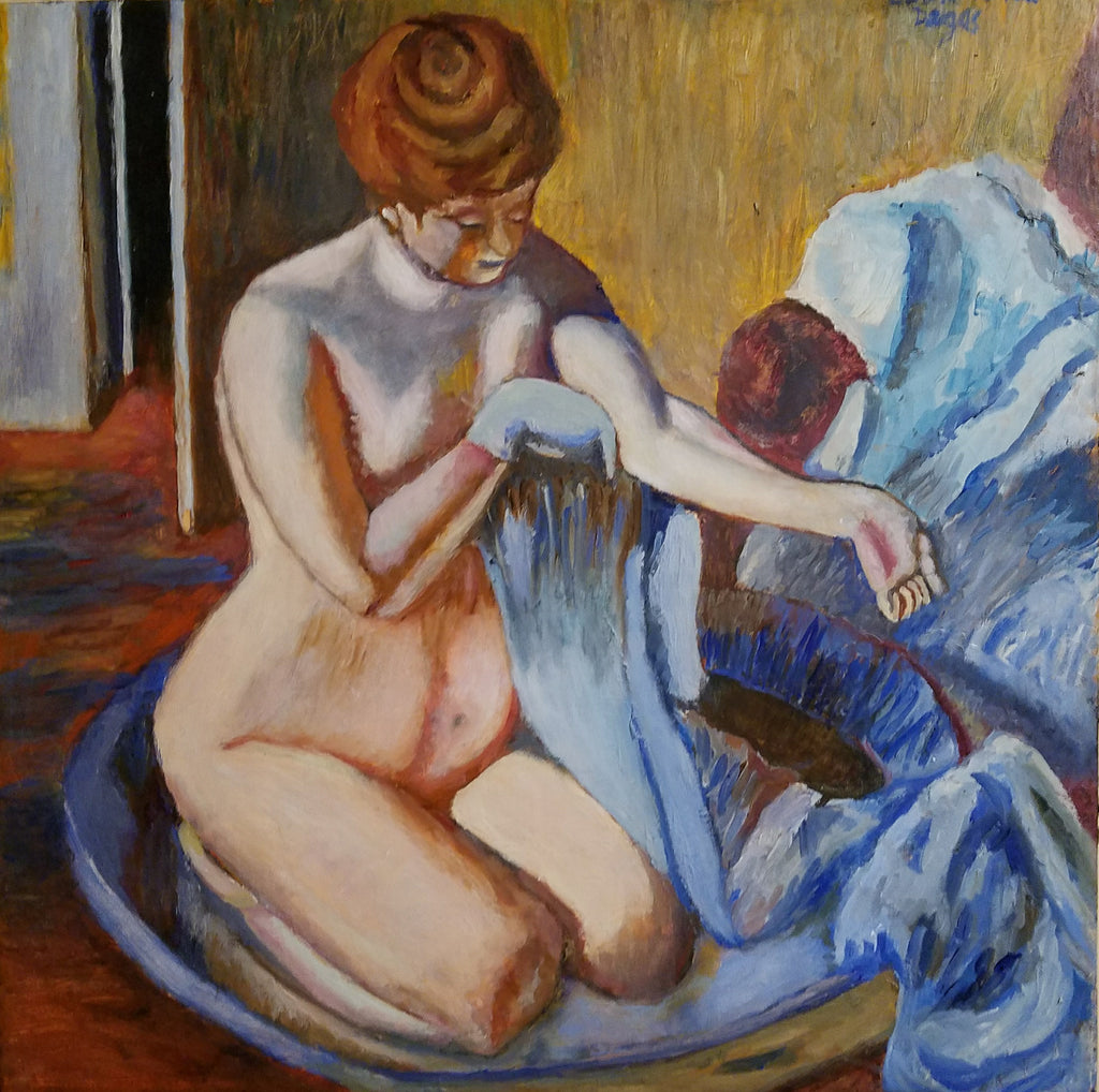 "Woman In A Tub, 24"" x 24""--1 1/2 inches wide"