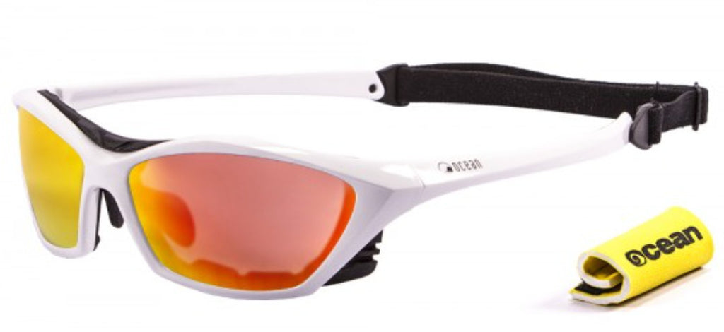 Ocean Lake Garda Polarised Sunglasses - Shiny White with Revo lens