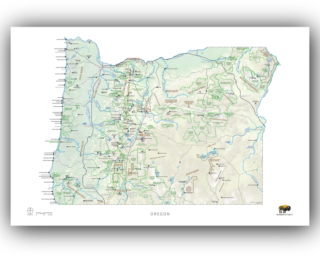 Outdoor Project Oregon Wall Map