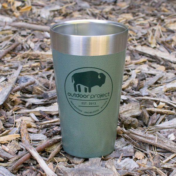 Outdoor Project + Stanley Insulated Pint - Green w/ Bison
