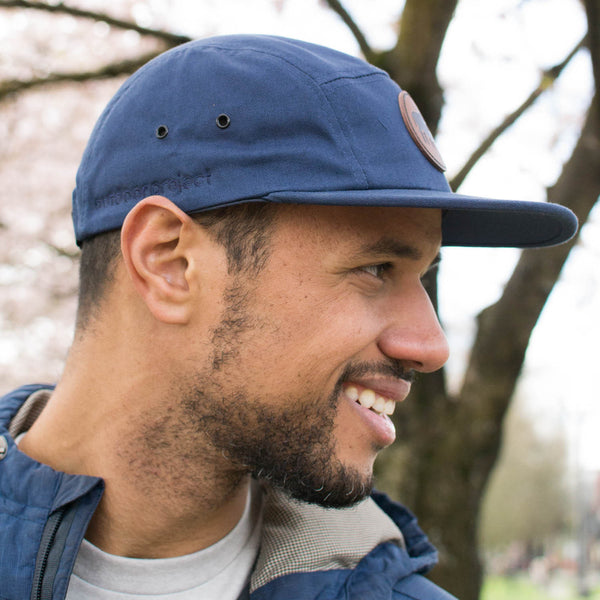 Outdoor Project Navy Five-Panel Cap with Leather Patch