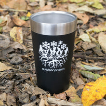 Load image into Gallery viewer, Outdoor Project + Stanley Insulated Pint - Black w/ Seasons Motif
