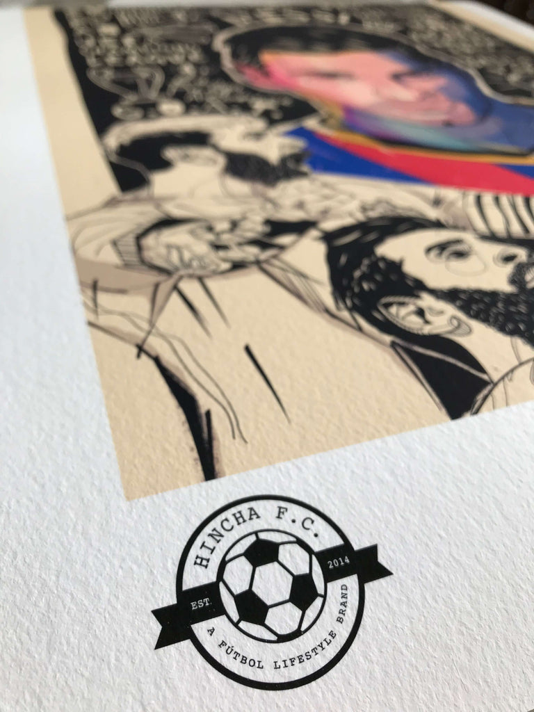 Close up of fine art, giclee Leo Messi design, printed on Hahnemule German etching paper.